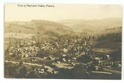 Rppc Aerial View Harrison Valley Pa Potter County Real Photo Postcard