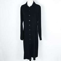 TravelSmith Black Button Down Long Sleeve Shift Dress Medium Made in USA $24.97