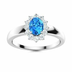 Certified 0.79 Carat Natural Aaa Blue Topaz And Diamond 14k White Gold Halo Ring