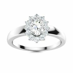 Certified 0.79 Carat Natural White Topaz And Diamond 14k White Gold Halo Ring