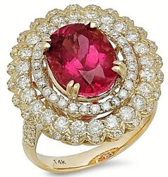 2.41ct Natural Round Diamond Ruby Gemstone 14k Solid Yellow Gold Cocktail Ring
