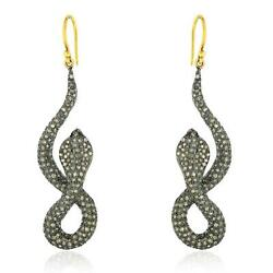 Antique Snake 18k Gold 925 Silver Hook Earrings Pave Diamond And Ruby Jewelry