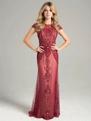 Lara Evening Dress/gown New Size 18red/nudepatterned Beadssheer Cutout Back