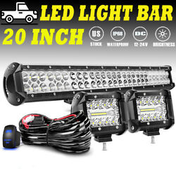 20inch 1260w Led Work Light Bar Spot Flood Combo Work Ute Truck Suv Atv 22and039and039