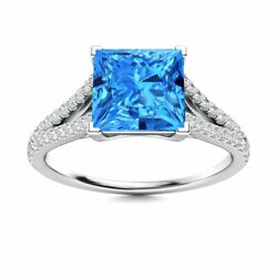 Princess Cut Genuine Blue Topaz And Diamond Engagement Ring In 14k White Gold