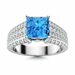 Genuine Princess Cut Blue Topaz And Si Diamond Engagement Ring In 14k White Gold
