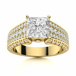 Genuine Princess Cut Aaa Topaz And Diamond Engagement Ring Solid 14k White Gold