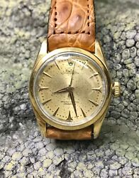 Vintage Rolexs 6634 Oyster Perpetual Gold Capped Shell 34mm Steel Watch Serviced