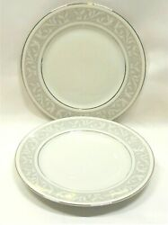 Imperial China Whitney Salad Plates X2 Gray Band White Leaf Scroll Platinum Trm