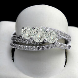 4 Ct Round Cut Moissanite Bridal Rings Set In 10k Solid White Gold