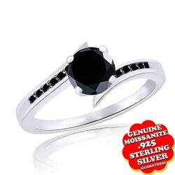 2.5 Ct Round Black Real Moissanite Solitaire Engagement Ring Sterling Silver