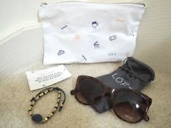 ANN TAYLOR LOFT Sunglasses + Bracelet in Makeup Bag $75 Value