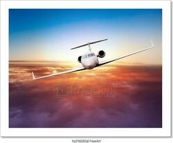Private Jet Plane Flying Above Clouds Art Print Home Decor Wall Art Poster - K