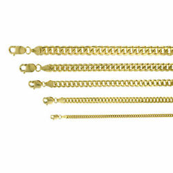 14k Yellow Gold Solid 2.7mm-6mm Miami Cuban Chain Link Necklace Bracelet 7-30