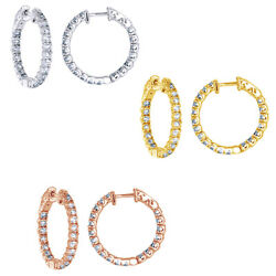 2 Carat Real Diamond Inside Out Hoop Earrings 14k Solid Gold Antique Style