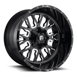 4 22x12 Fuel Gloss Black And Milled Stroke Wheels 8x170 For 03-19 F250 F350