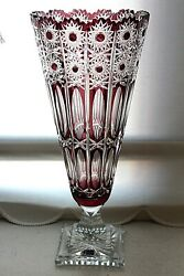Vintage Monumental Lausitzer Art Glass Ruby Red Lead Crystal Cut To Clear Vase