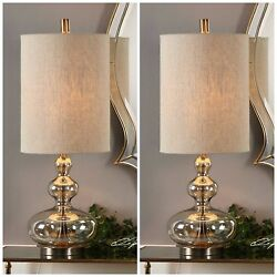 Two Formoso 32 Light Amber Glass Table Lamps Aged Brass Metal Uttermost