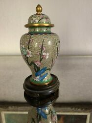 Vintage Chinese CloisonnÉ Enamel Metal Ginger Jar With Lid And Wooden Stand