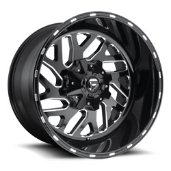 4 20x12 Fuel Black And Milled Triton Wheels 8x170 For 03-19 Ford F-250 F-350