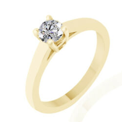 0.49 Ct Simulated Ideal Round Basket Engagement Ring 14k Yellow Gold
