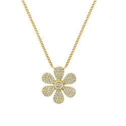 2/5 Ct Round Cut Simulated Solid 14k Yellow Gold Daisy Flower Pendant Necklace