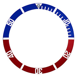 Replacement Bezel Insert Red/blue Flat For Watch 38mm X 31.50mm