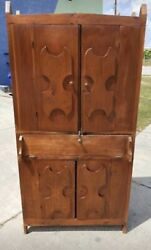 Antique Amish Cupboard Armoire Cabinet Circa 1860s-1890s Game Of Thrones Style