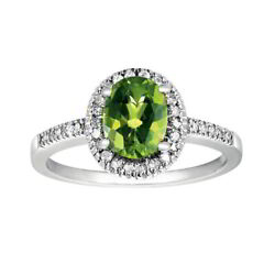 August Birthstone 1/6 Ct. Tw. Diamond And Peridot Oval Ring In 10k White Gold