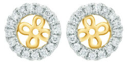 0.2 Ct White Natural Diamond Frame Earring Jackets In 14k Yellow Gold