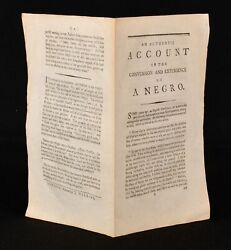 C1795 An Authentic Account Of The Conversion And Experience Of A Negro Uncommon
