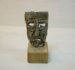 Vintage Hand-made Sculpture Made Out Of Metal And Tin Theatrical Mask Art Deco