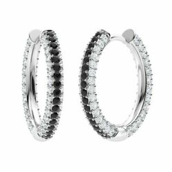 Certified 3.17 Ct Round Black And White Diamond Hoop Earrings In 14k Solid Gold