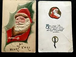2 Antique Christmas 1909 And 1919 Embossed Belsnickle Santa Postcards Aafa