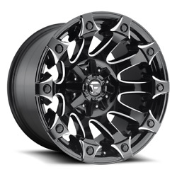 4 20x10 Fuel Black And Milled Battle Axe Wheel 5x114.3 5x127 For Jeep Toyota Gm