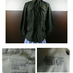 Vtg 1950and039s Us Army Military M-1951 Cold Weather Field Jacket Zipandsnap Med Short