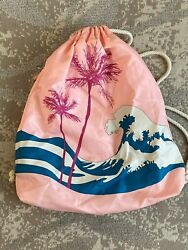 Drawstring backpack Beach Bag Waves and Palm Trees Pink