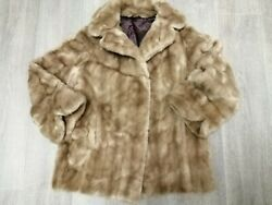 WOMENS FAUX MINK FUR JACKET TISSAVEL VINTAGE SIZE 14 - 16 HONEY BLONDE BEIGE