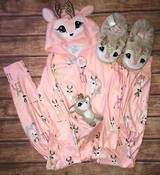 NWT Justice Girls Deer one piece pajama size 7 8 10 12 and1416 And Slippers