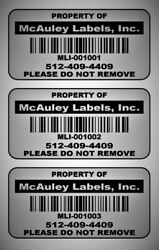2 X 1 Custom Mat Silver Metalized Polyester Asset Labels / Property Tags