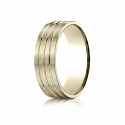 7mm Comfort-fit Satin-finish Carved 14k Yellow Gold Wedding Band Ring Sz 13