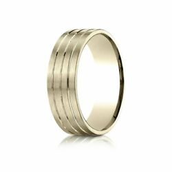 7mm Comfort-fit Satin-finish Carved 14k Yellow Gold Wedding Band Ring Sz 11