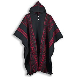Llama Wool Mens Womans Unisex Hooded Poncho Pullover Sweater Jacket All Seasons