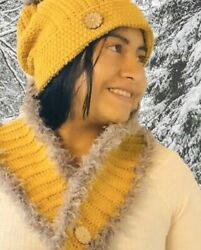 Women Winter Scarf And Hat Set Knitted Warm Beanie Skullcaps Knit Neck Warmer.