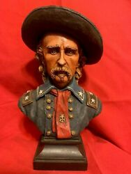 Hand Painted Ron Tunison Civil War General George Custer Cold Cast Bronze Bust