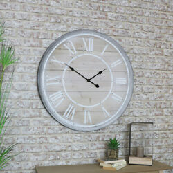 Large rustic wooden wall clock Roman numeral living room kitchen hall display
