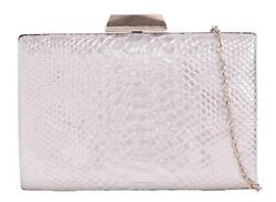Womens Snake Skin Compact Clutch Bag Hardware Rigid Structure Evening GBP 12.99