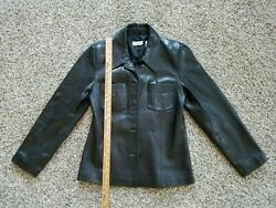 BLACK SOFT LEATHER WOMEN JACKET BUTTON FRONT SMALL PETITE ANN TAYLOR $39.99