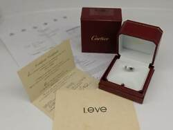 18k White Gold Love Ring 1 Diamond With Certificate And Invoice