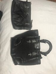 Simply Vera Wang Hand Bag Black OMBRE With Chrome Details Studs Small Set 2 B
